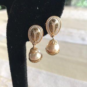 """Damascene Spain """"pearl"""" earrings"""
